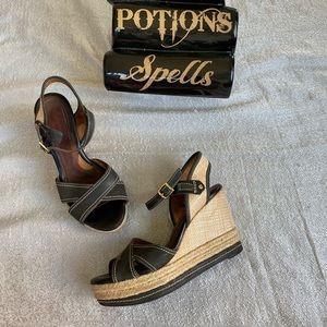 Clarks woven sandal wedges